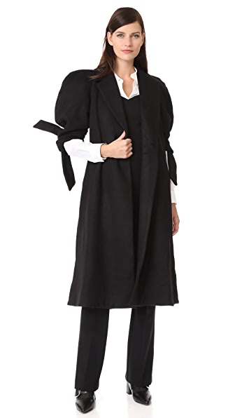 PAPER London Jet Wool Coat In Black