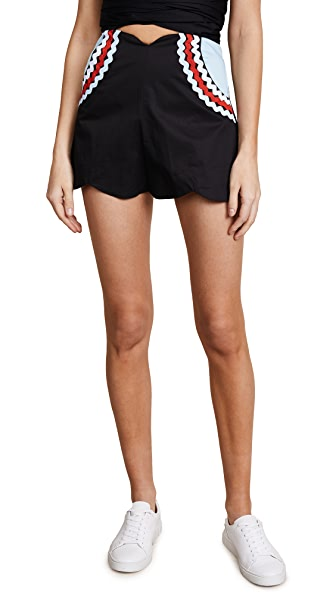 PAPER London Mustique Shorts In Black Blue Garnet