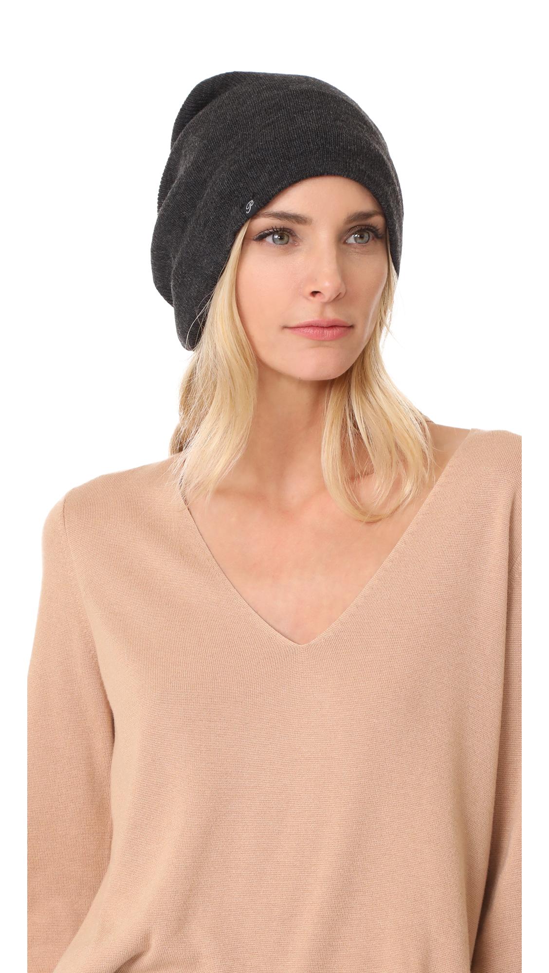 Plush Barca Slouchy Fleece Lined Hat - Charcoal