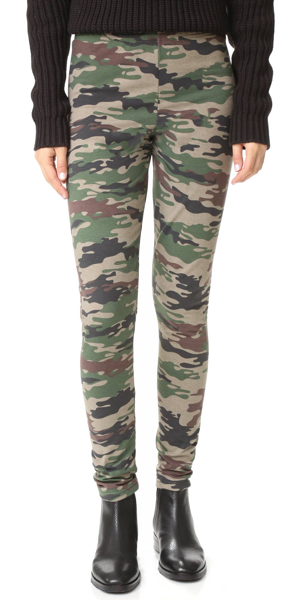 Fleece Lined Camo Print Leggings Plush