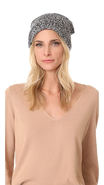 Plush Marled Slouchy Fleece Lined Beanie - Black/White