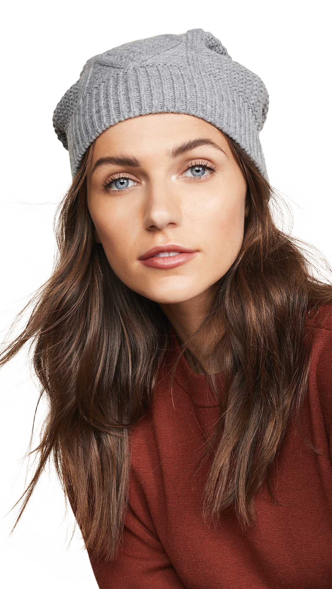 PLUSH Cable Knit Fleece Lined Beanie in Heather Gray