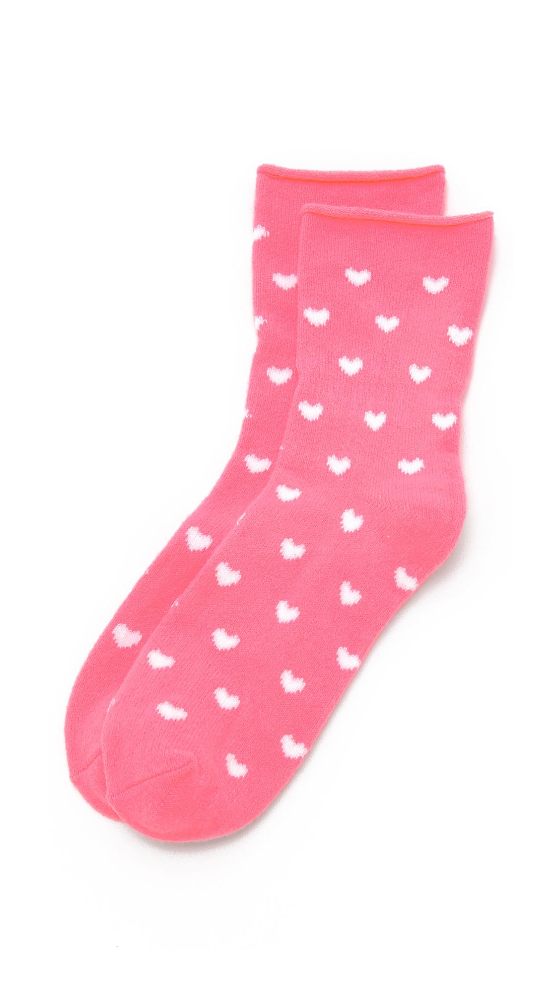 PLUSH Heart Rolled Fleece Socks in Neon Pink
