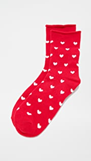 Plush Heart Rolled Fleece Socks