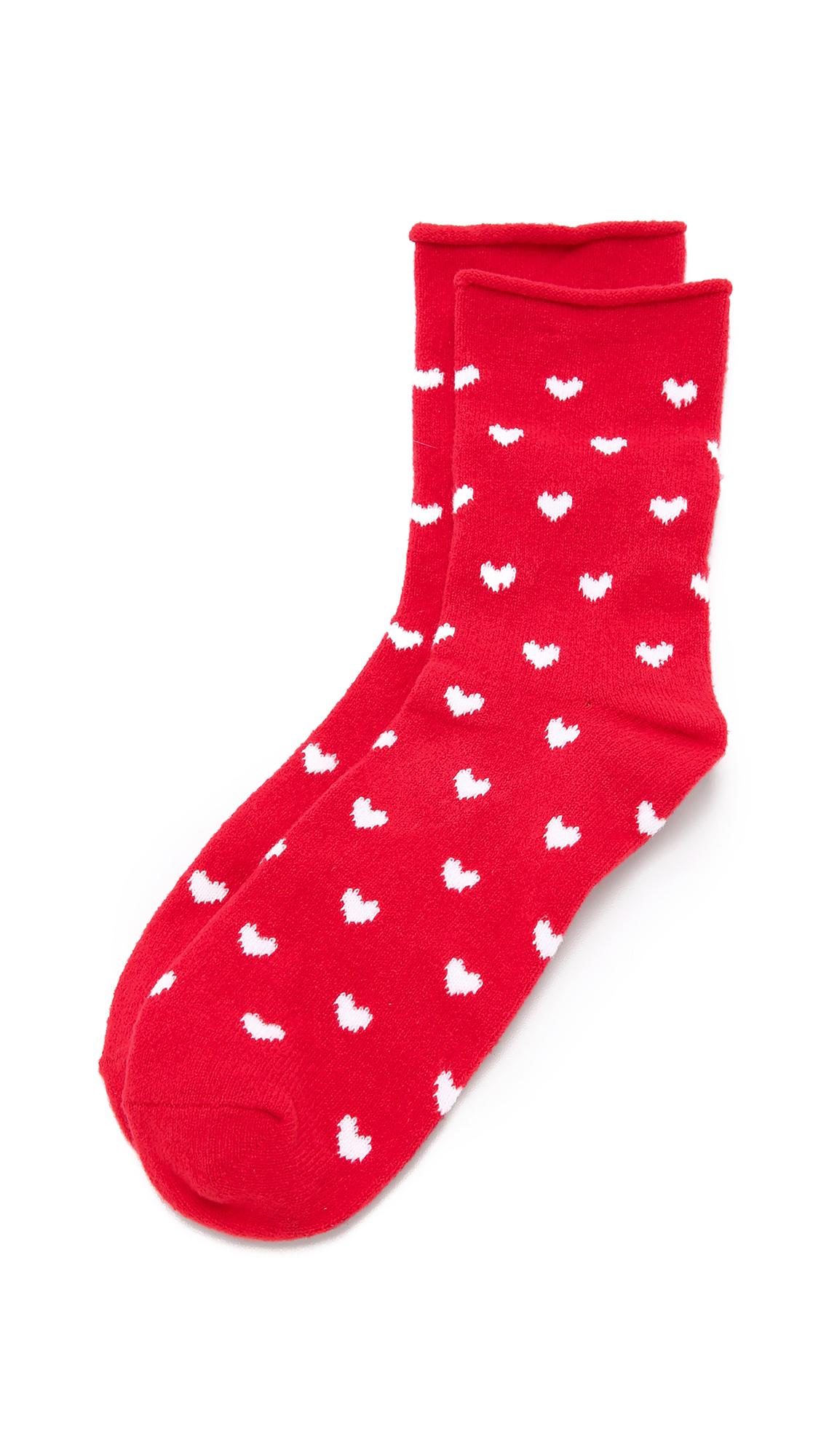 PLUSH Heart Rolled Fleece Socks in Red