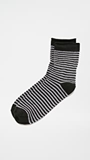 Plush Stripe Rolled Fleece Socks