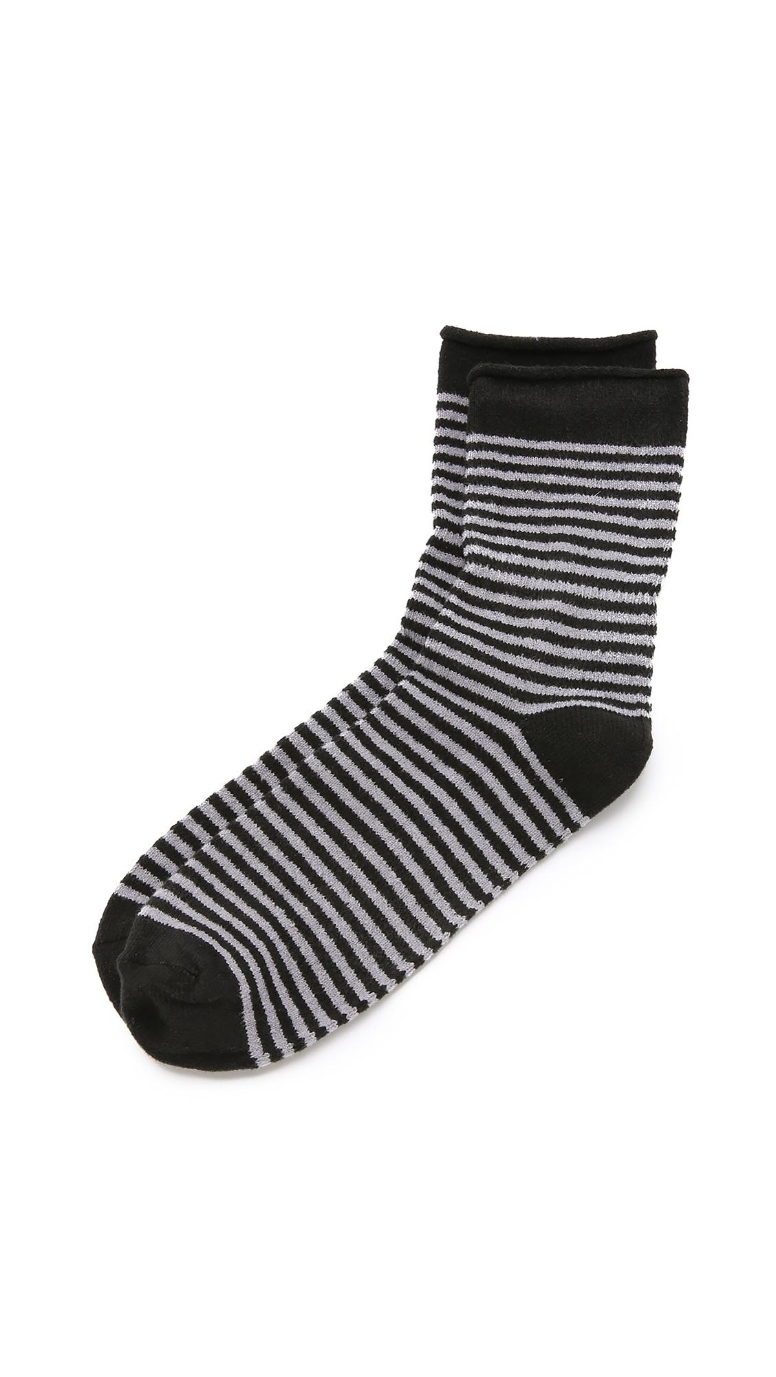 PLUSH Stripe Rolled Fleece Socks in Charcoal