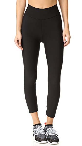 Plush Fleece Lined Cropped Athletic Leggings - Black