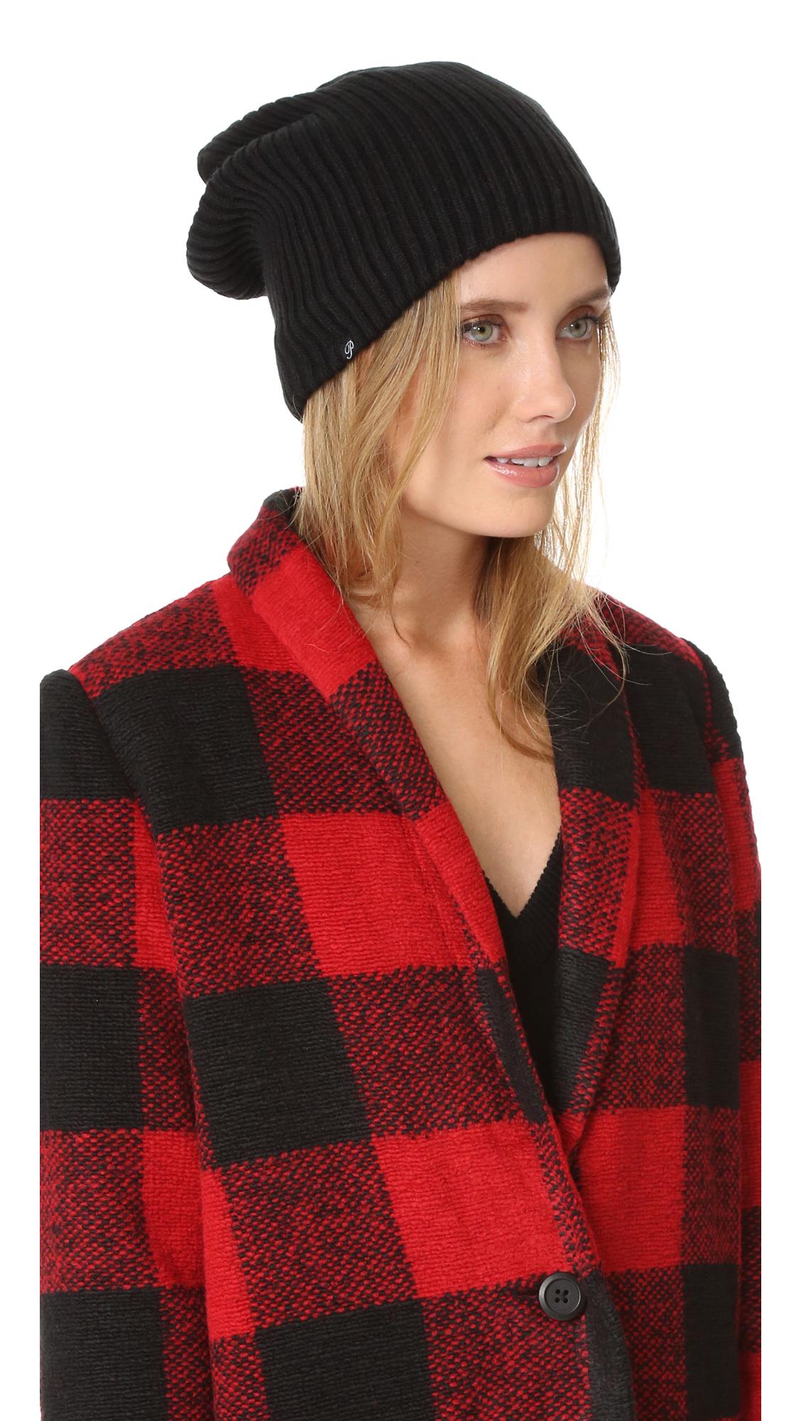 Plush Ribbed Fleece Lined Beanie - Black