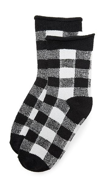 Plush Rolled Fleece Plaid Socks - Black/White Plaid