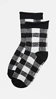 Plush Rolled Fleece Plaid Socks