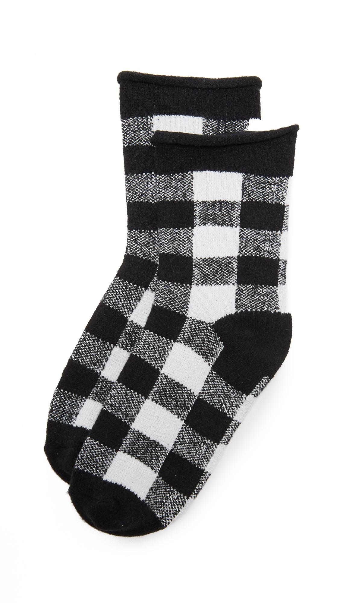 PLUSH Rolled Fleece Plaid Socks in Black/White Plaid