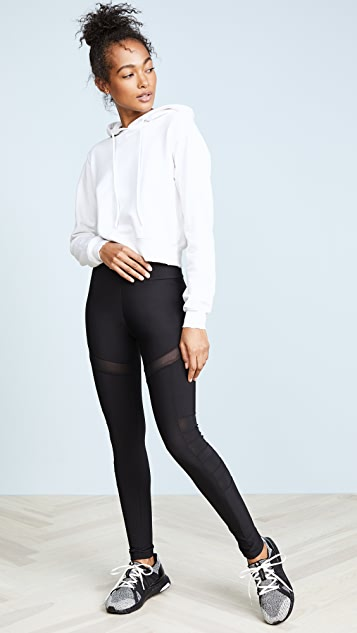 Plush Fleece Lined Athletic Mesh Cutout Leggings