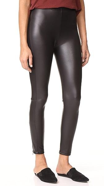 Plush Zippered Fleece Lined Liquid Leggings In Black