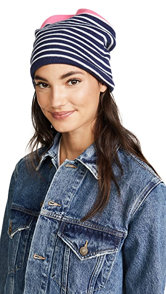 Plush Fleece Lined Striped Beanie Hat at Shopbop