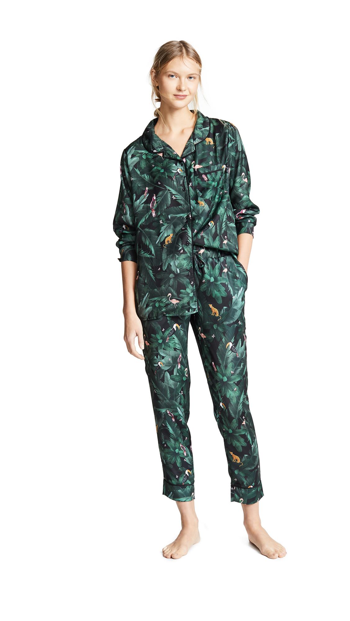PLUSH Silky Jungle Print Pj Set in Emerald Jungle