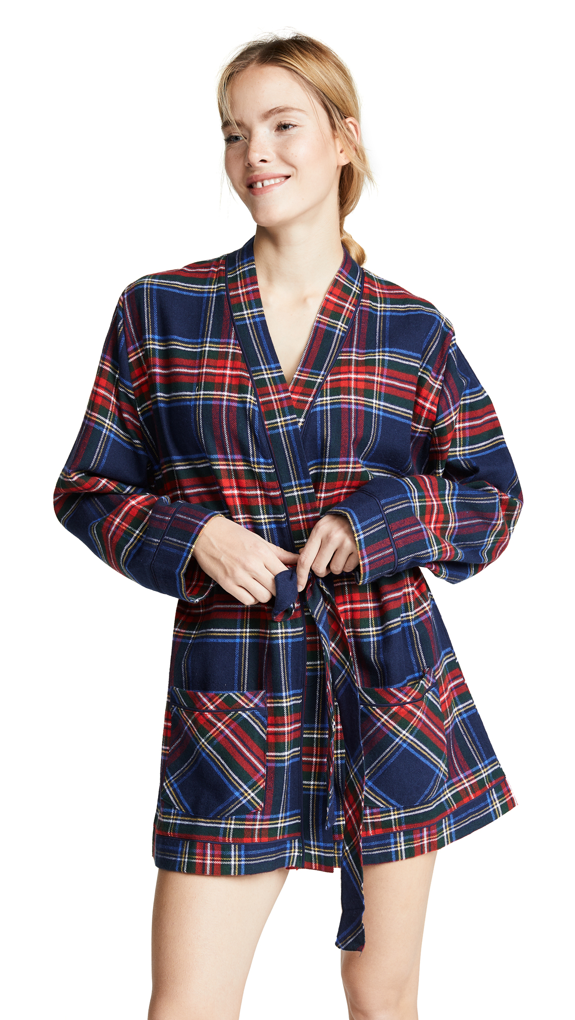 PLUSH Ultra Soft Flannel Robe in Navy/Red Plaid