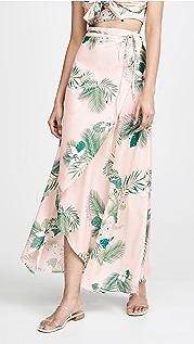 Plush 棕榈树裹身半身长裙
