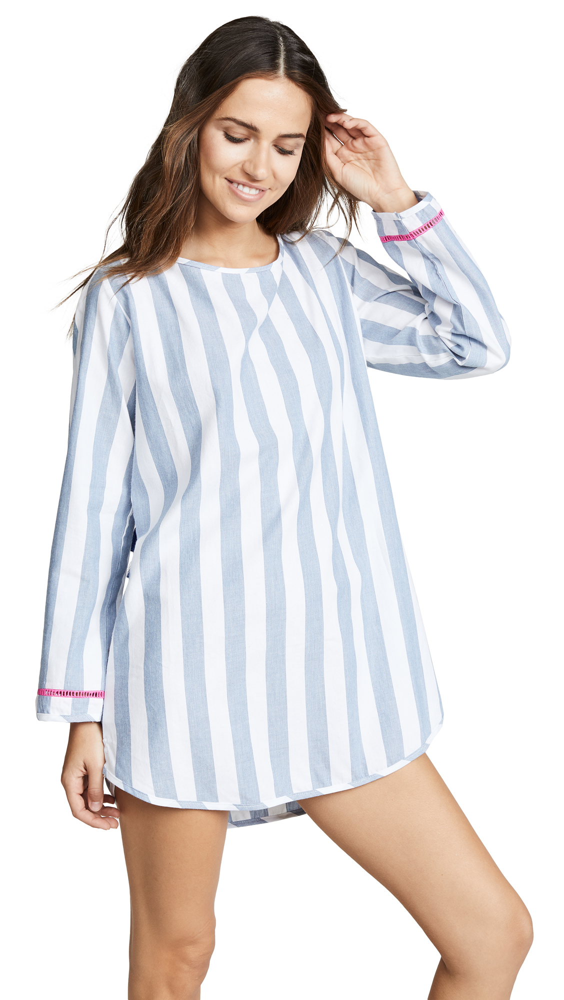 PLUSH Chambray Open Back Dress in Blue/White Stripe