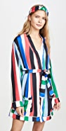 Plush Rainbow Stripe Robe with Headband Set