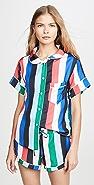 Plush Rainbow Stripe PJ Set with Eyemask