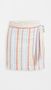 Plush Striped Mini Wrap Skirt