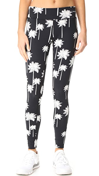 Perfect Moment Palm High Waist Leggings - Black Snow White Palm