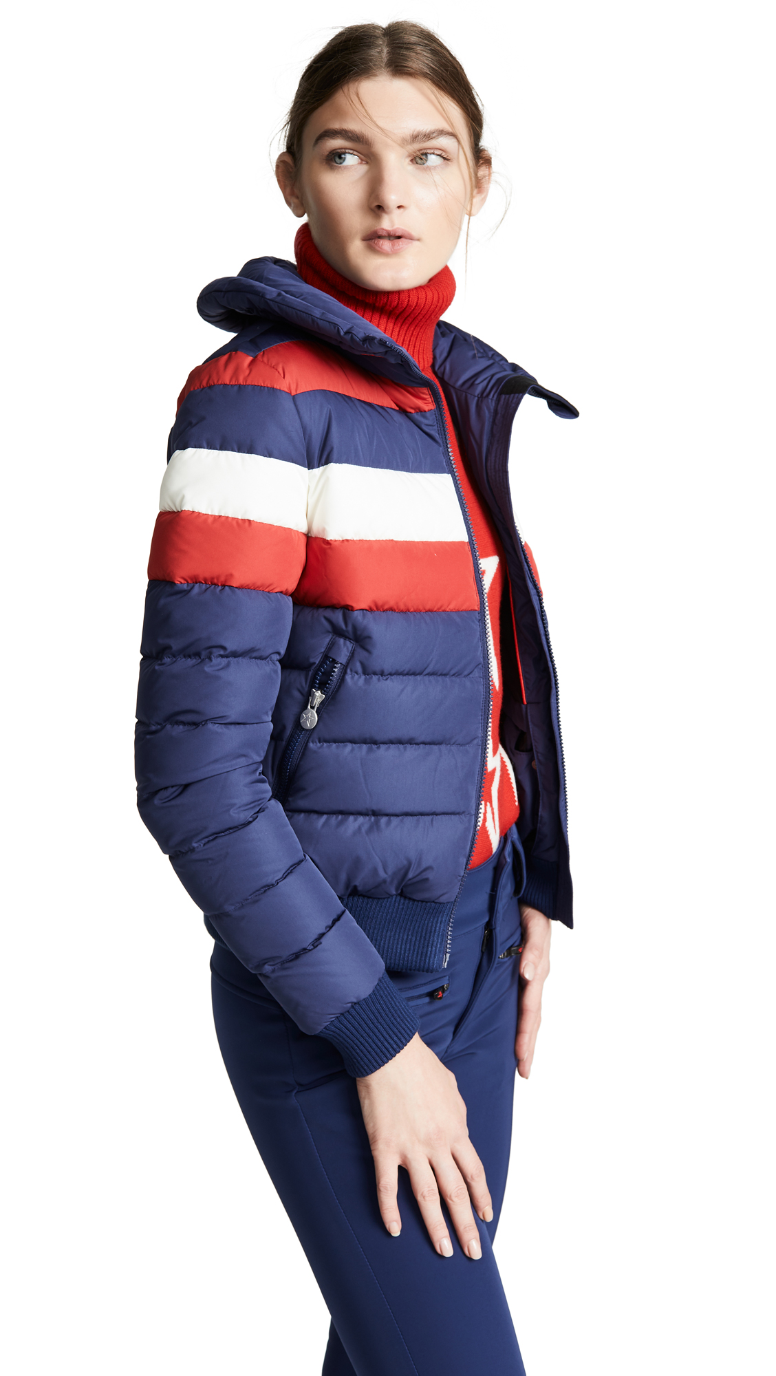 Queenie Down And Feather-Filled Ski Jacket in Blue