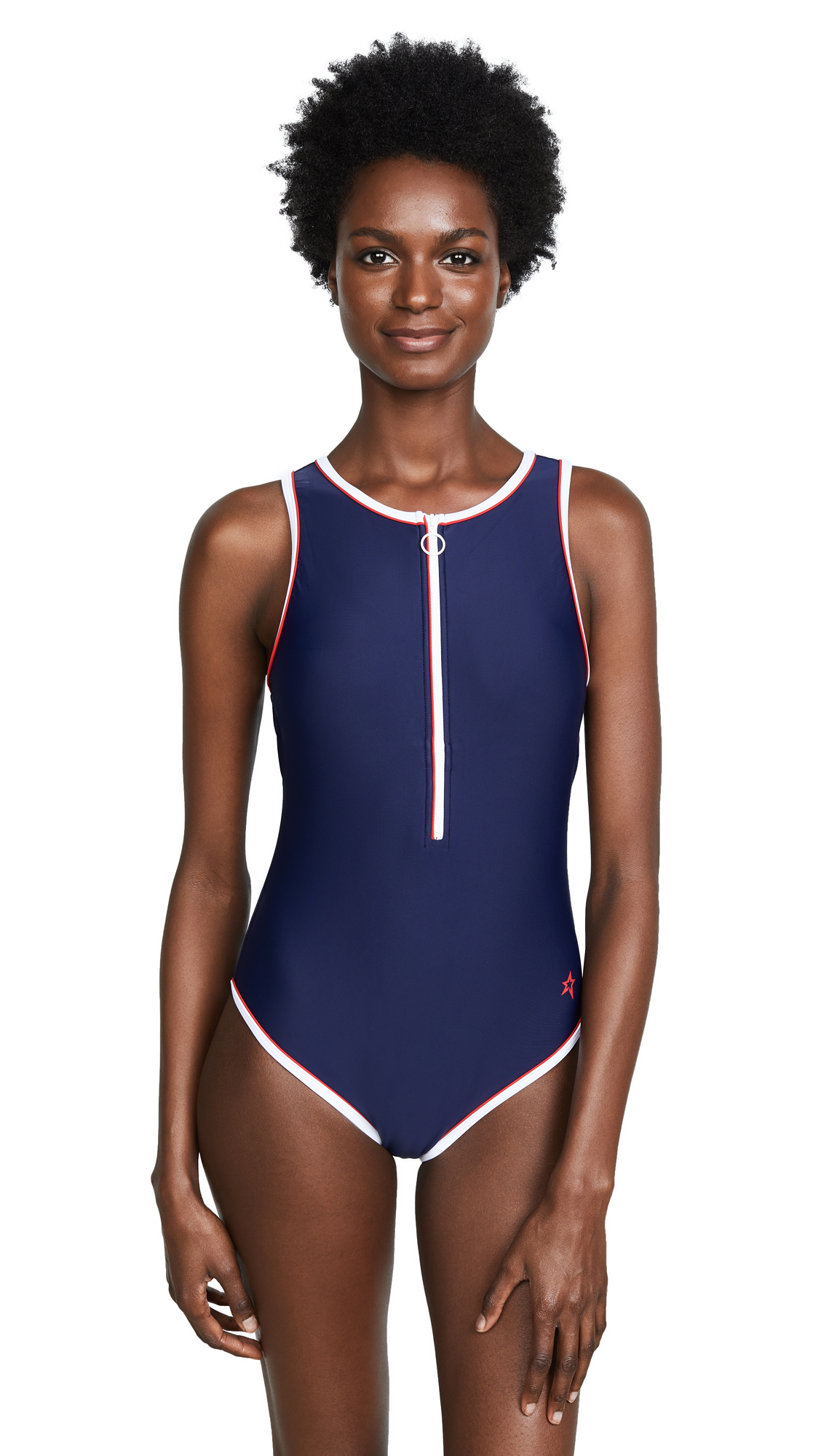 Perfect Moment Sporty One Piece Swimsuit In Navy/Red
