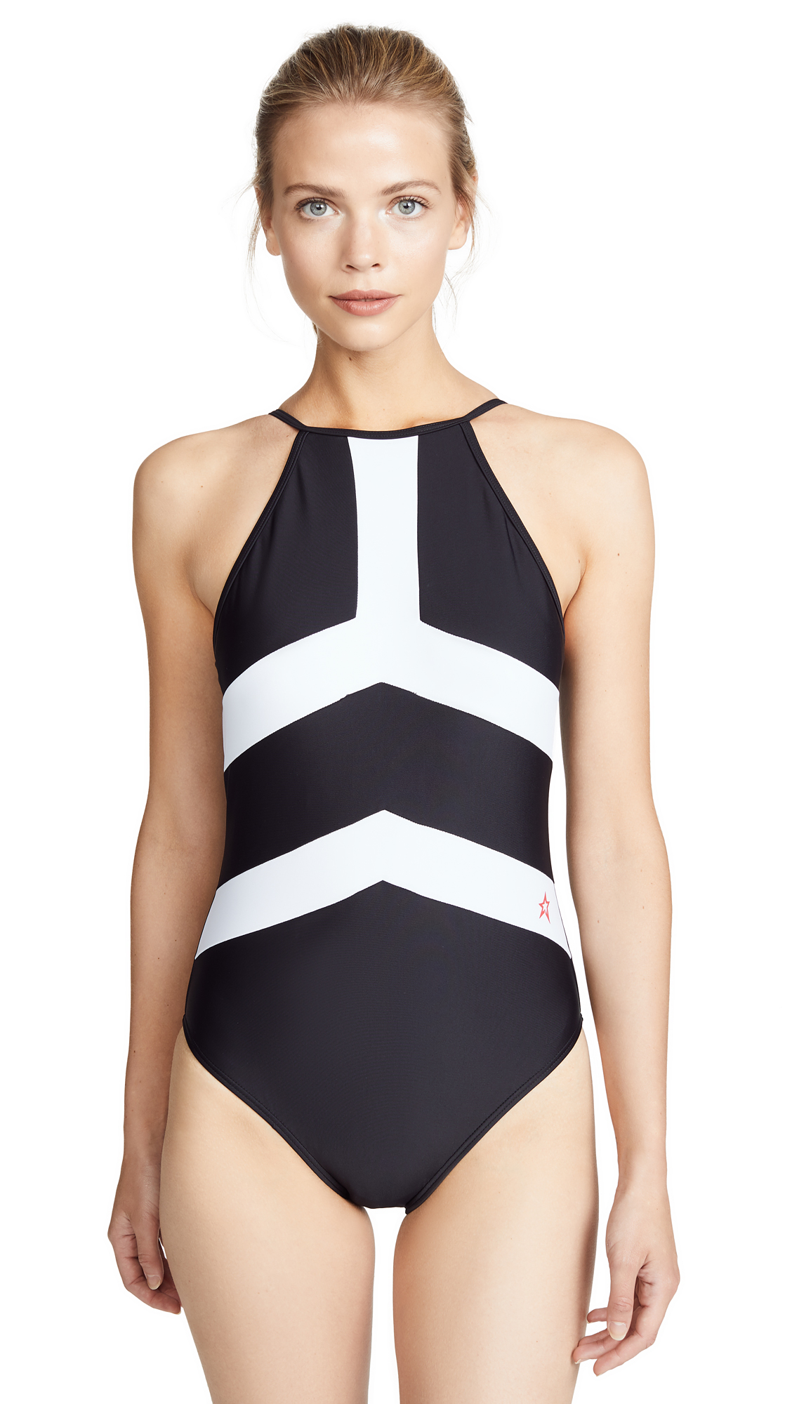 Perfect Moment Nordic One Piece Swimsuit In Black/Snow White