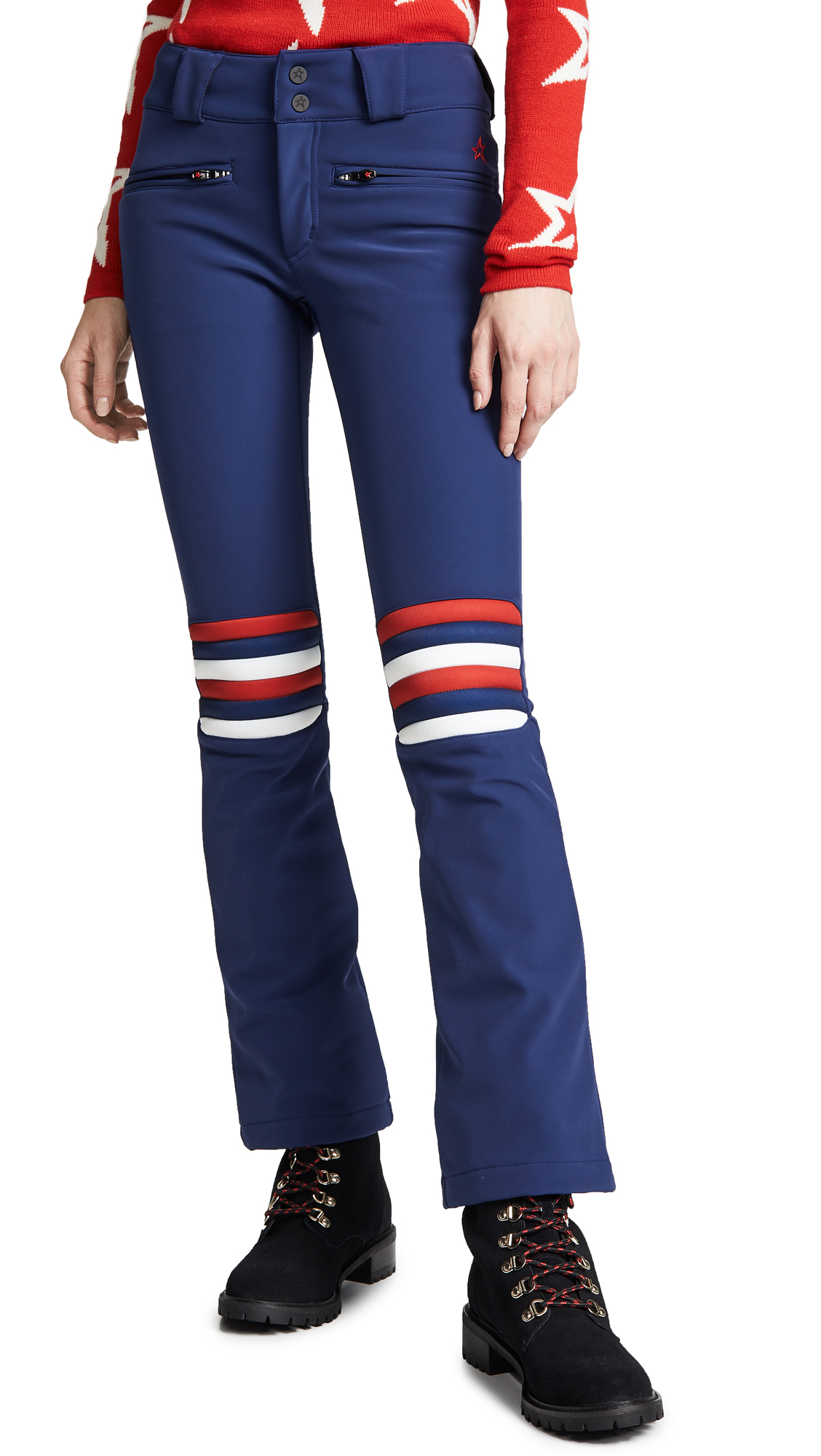 Aurora Flare Striped Ski Pants in Blue