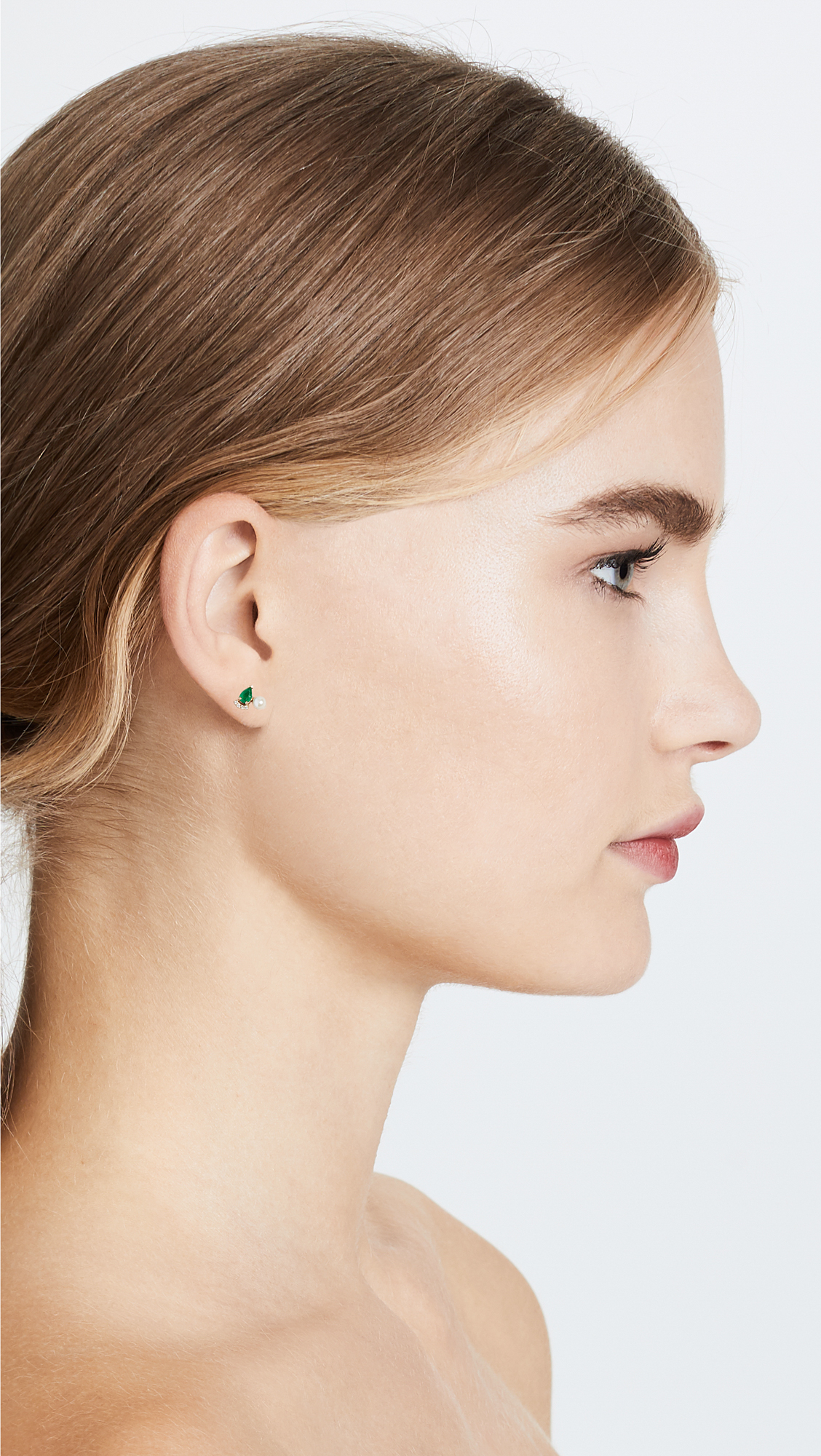 Paige Novick Diamond & Emerald 18k Earrings with Cultured Freshwater Pearl XdUjj1E