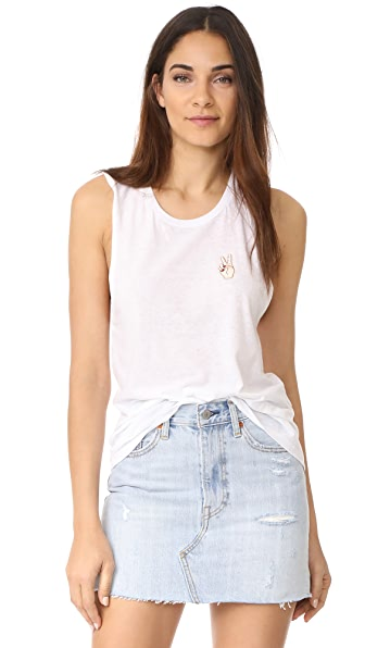 Private Party Peace Sign Tank In White