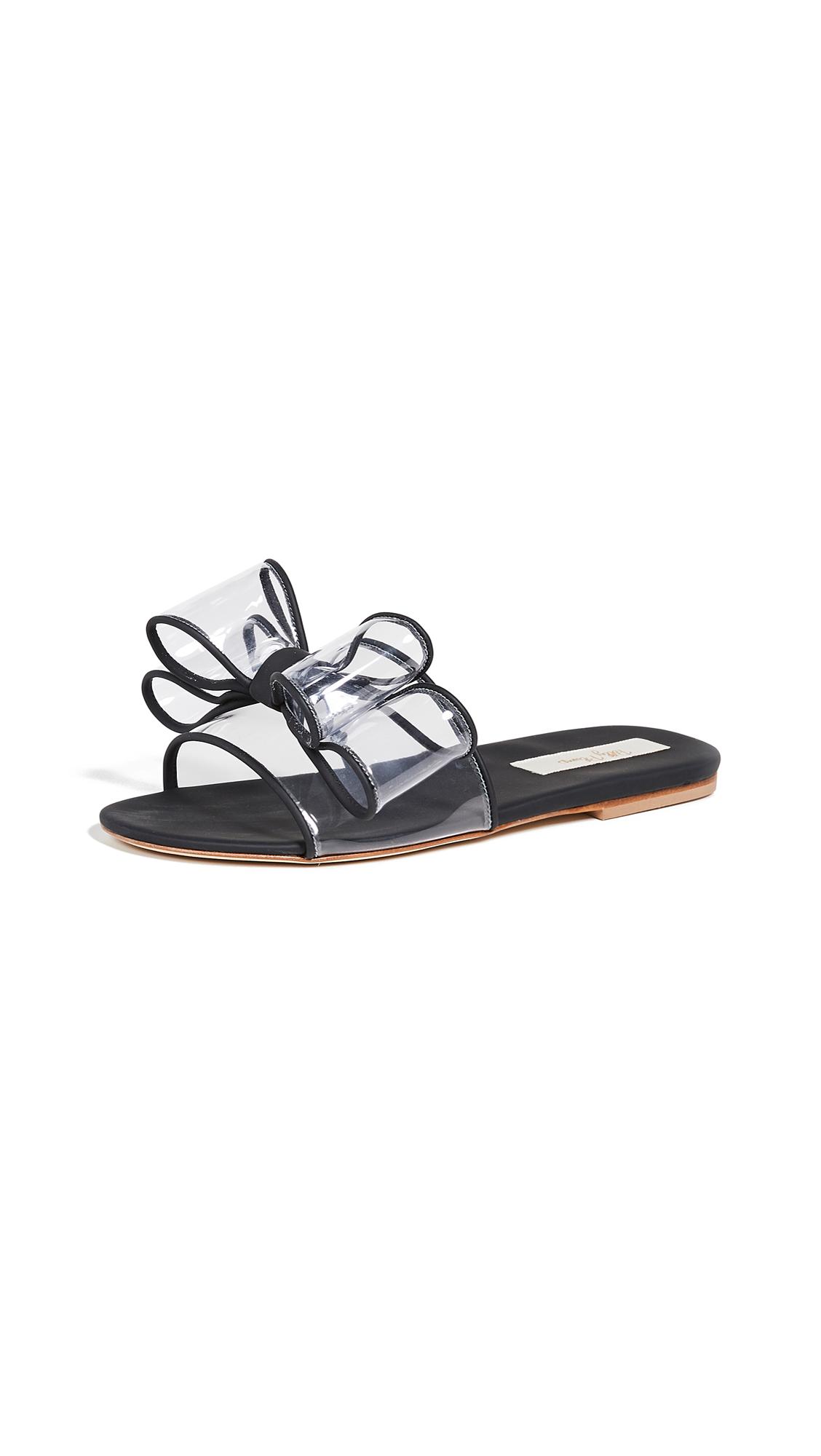 Polly Plume Lola Bow Slides - Black