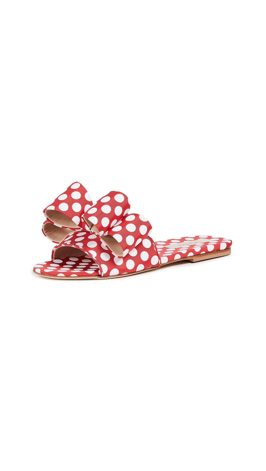 Polly Plume Lola Bow Slides - Cherry