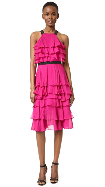 Prabal Gurung Ruffle Dress - Fuchsia