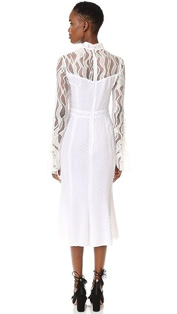 Prabal Gurung Ruffle Long Sleeve Mock Neck Dress