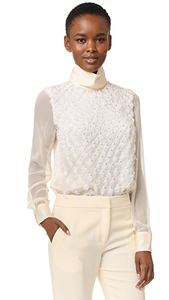 Prabal Gurung Embroidered Long Sleeve Blouse