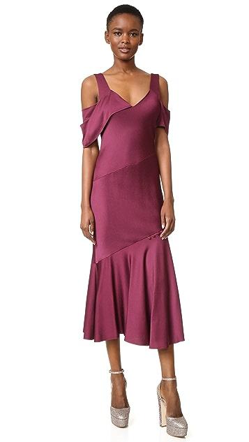 Prabal Gurung Short Sleeve Draped Shoulder Dress