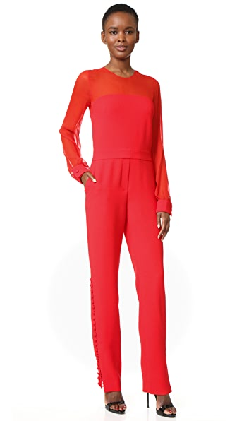 Prabal Gurung Long Sleeve Crew Neck Jumpsuit
