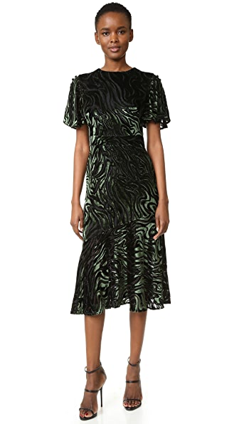 Prabal Gurung Short Sleeve Flared Skirt Dress with Side Slits - Black/Forest