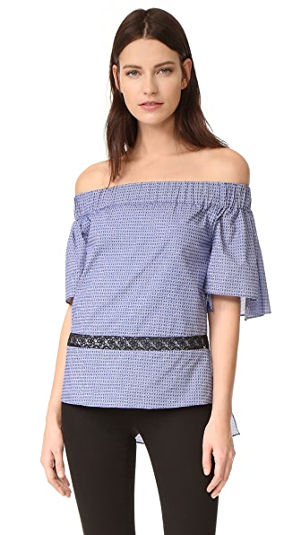 Prabal Gurung Off Shoulder Tiered Ruffle Blouse - Indigo