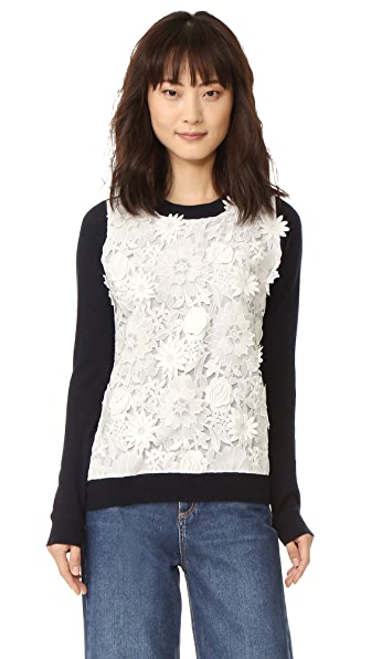 Prabal Gurung Long Sleeve Cashmere Sweater - Navy