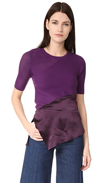 Prabal Gurung Short Sleeve Knit Top In Violet