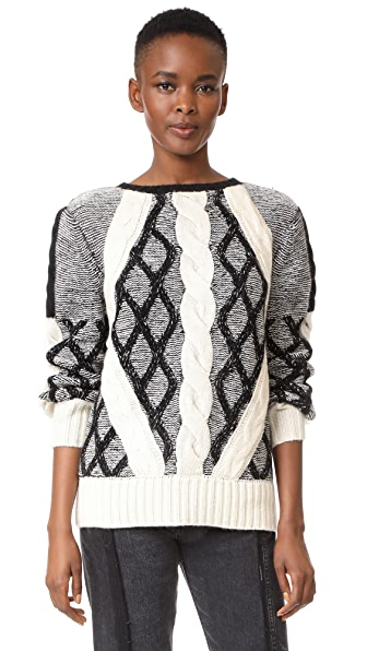 Prabal Gurung Cable Crew Neck Knit Sweater
