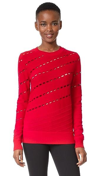 Prabal Gurung Solid Cable Crew Neck Knit Sweatshirt