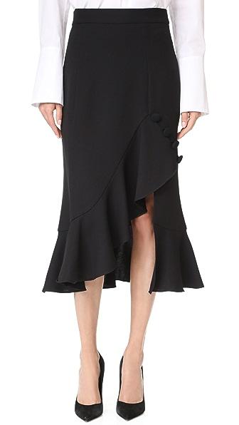 Prabal Gurung Ruffle Hem Skirt In Black