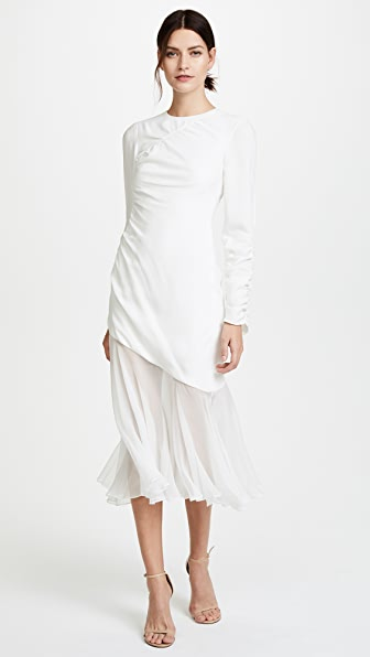 Prabal Gurung Long Sleeve Ruched Dress