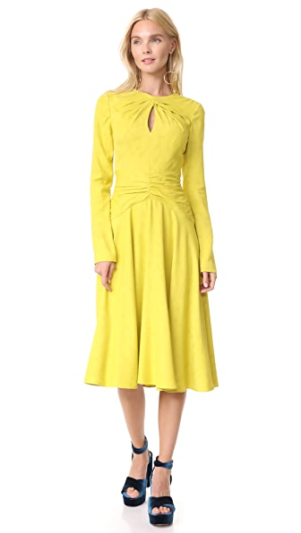 Prabal Gurung Twist Dress with Keyhole In Chartreuse