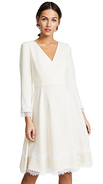 Prabal Gurung Fit and Flare Lace Trim Dress